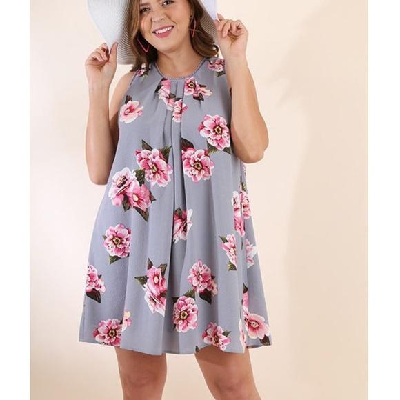 df40b93d843eed Umgee Plus Gray Pink Floral Boho Swing Tunic Dress